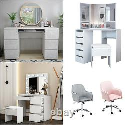 Home Office PC Desk Dressing Makeup Table & Stool 4/6Drawers, Mirror, LED Bulbs