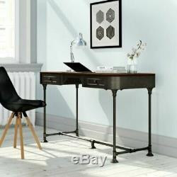 Industrial Computer Desk Furniture Home Office Vintage Writing Table 2 Drawers