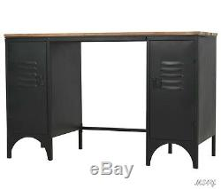 Industrial Computer Desk Retro Solid Top Steel Cabinets Workstation Table Office