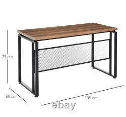 Industrial Computer Desk Vintage Style Writing Table Large Metal Office Station