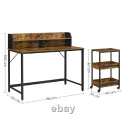 Industrial Computer Desk Vintage Writing Table Rustic Filling Office Cabinet