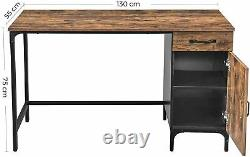 Industrial Computer Desk With Cupboard & Drawer Vintage Retro Rustic Wooden Table