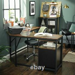 Industrial Corner Computer Desk Executive Home Office Rustic Writing Table Study