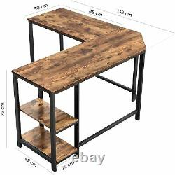 Industrial Corner Desk with Shelves L Shaped PC Computer Gaming Writing Table