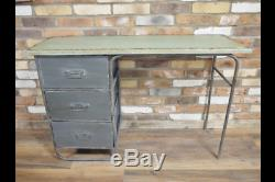 Industrial Desk Table Study Computer distressed Metal Urban Loft Modern Unique