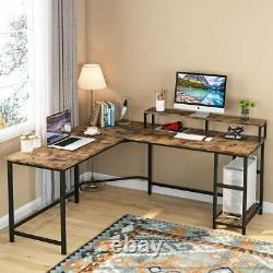 Industrial L-Shaped Computer Gaming Desk Table with Large Monitor Stand&Shelves