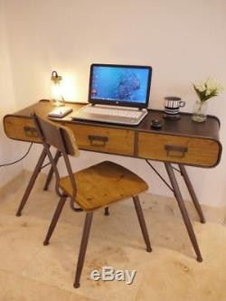 Industrial Office Desk & Chair Set Computer Console Dressing Table With Drawers