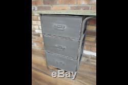 Industrial Reclaimed Rustic Metal Office Study Computer Desk Table (dx4927)