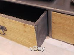 Industrial Retro Vintage Reclaimed Style Metal Wooden Desk Console Table Dx3385