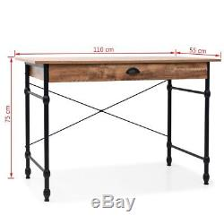 Industrial Rustic Writing Desk Office Computer Table Solid Wood Retro Steel Side