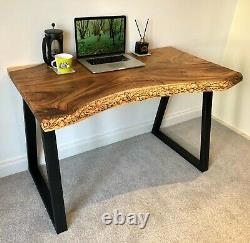 Industrial Style Office Desk Solid Hard Wood Live Edge Computer Table