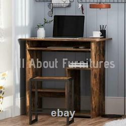 Industrial Workstation Writing Desk Small Computer Desk With Keyboard Tray Table