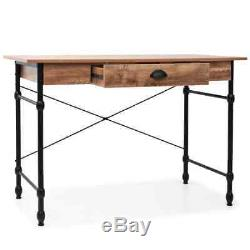 Industrial Writing Desk with Large Drawer Oak Console Table Steel Legs MDF New