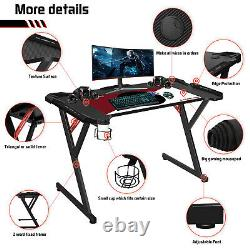 JL Comfurni Home Office Gaming Computer Desk Table with Cup Headphones Holder