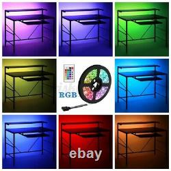 LED RGB Gaming Desk PC Computer Writing Table Carbon Fibre Metal Racing Office