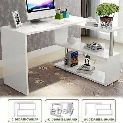 L-Shape 360° Rotating Computer Desk Home Office PC Corner Table with Storage Shelf