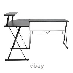 L-Shaped Computer Desk with Monitor Stand Rustic Home Office Desk Corner PC Table