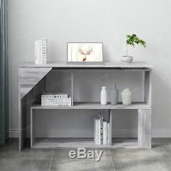 L-Shaped Computer Office Desk 360° Rotatable Table Bookshelves Home Office Study