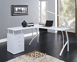 L-Shaped Corner Computer Desk Office Home PC Table in Black or White + 3 Drawers