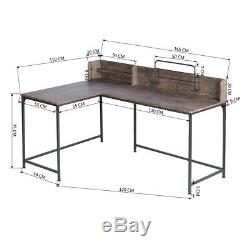 L-Shaped Corner Computer Desk with Metal Frame Home Office Wooden Laptop Table