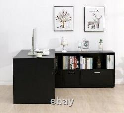 L-Shaped Home Office Computer Desk Study Working Corner PC Table Large MDF Black