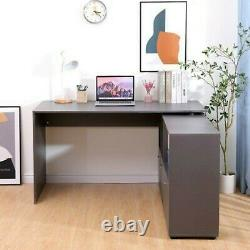 L-Shaped Home Office Computer Desk Study Working Corner PC Table Large MDF Grey