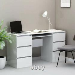 Large Computer Desk High Gloss 6 Drawers White PC Laptop Gaming Dressing Table