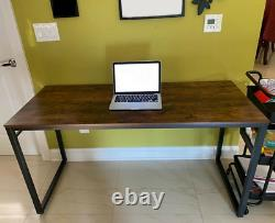 Large Computer Desk Vintage Industrial Workstation Metal Writing Study PC Table