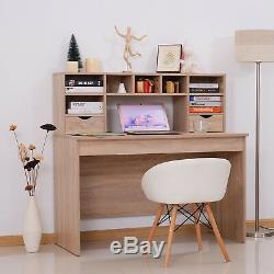 Large Computer Desk with Hutch Oak Modern Home Office Writing Table Workstation