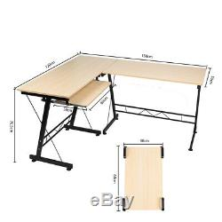 Large L-shaped Computer Desk Corner Double Study Table Workstation Keyboard Tray
