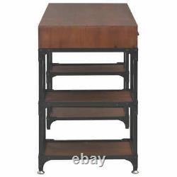 Large Solid Wood Vintage Computer Writing Table Office Desk Industrial Retro
