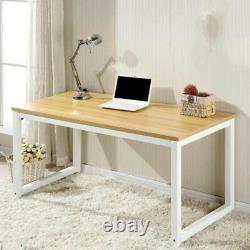 Large Walnut Wooden & Metal Computer PC Home Office Desk / Study Table Bedroom