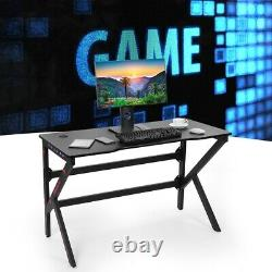 Luxury Computer Gaming Table PC Laptop Desk USB Plug Workstation Wooden & Metal