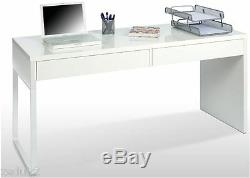 Milan White Gloss Office Desk Computer Study Table Workstation with Drawers