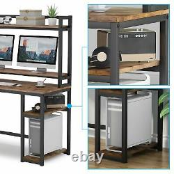 Modern Computer Desk with Book Shelves Study PC Table Home Office Workstation UK