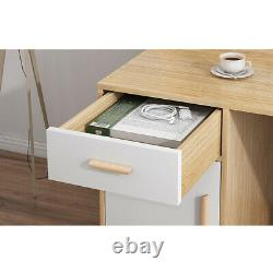 Modern Computer Table Desk With Drawers Lager Storage Office Study Workstation