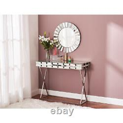 Modern Dressing Table Console Computer Desk Make Up Desk Mirrored Glass Office