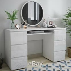Modern Dressing Table Workstation Computer Office Desk with 6 High Gloss Drawers