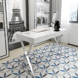 Modern High Gloss Dressing Table White Computer Desk Office Vanity Console Home