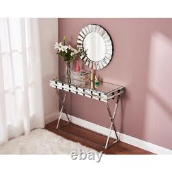 Modern Mirrored 3D Glass Dressing Table Computer Desk Office Vanity Console Home