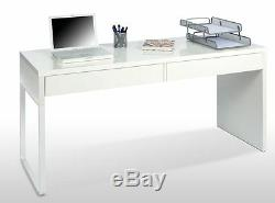 Mona White Gloss Computer Desk Workstation Study Table Office Home Furniture
