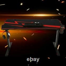 NEW Gaming Table Black Computer Racing Desk 60inch with Cup Holder Headphone Hook