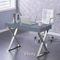 NEW Grey High Gloss Dressing Table Computer Desk Office Vanity Console Home UK