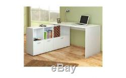 NEW Large White Home Office Corner Computer Storage Desk Table Furniture