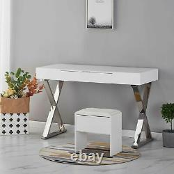 NEW Modern White High Gloss Dressing Table Computer Desk Vanity Home With Mirror