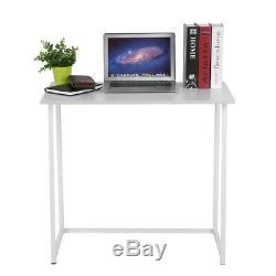 Narrow Desk Small White Computer Table Minimal Office Furniture Folding Table