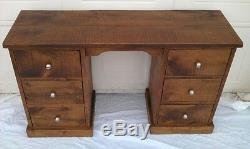 New Solid Wooden Computer Desk Dressing Table Chunky Rustic Plank Pine Furniture