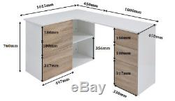 New White Gloss Desk with Oak Storage Drawers Computer Home Office LapTop Table