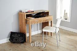 Oak Console Desk Extending Table Work Station Computer PC Study Storage Drawers