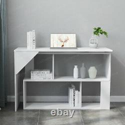 Office Chair + L-Shape Rotating Corner Computer PC Desk Table withStorage Shelf